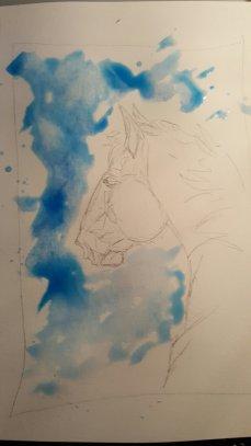 Pencil sketch done, background in progress.